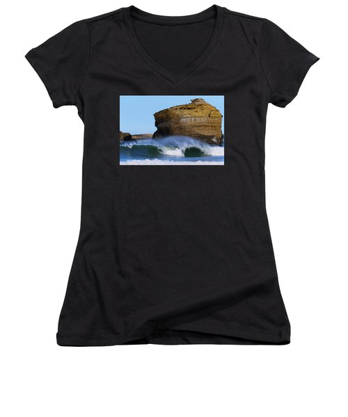 Women's V-Neck T-Shirt (Junior Cut) featuring the photograph The Wave by Thierry Bouriat