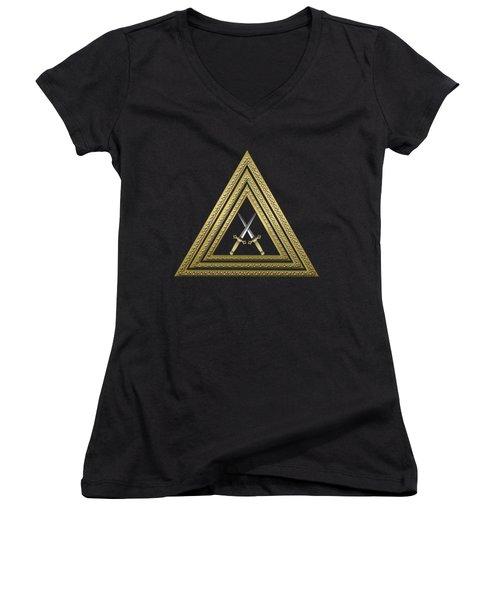 15th Degree Mason - Knight Of The East Masonic Jewel  Women's V-Neck T-Shirt (Junior Cut) by Serge Averbukh