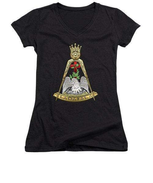 18th Degree Mason - Knight Rose Croix Masonic Jewel  Women's V-Neck T-Shirt (Junior Cut) by Serge Averbukh