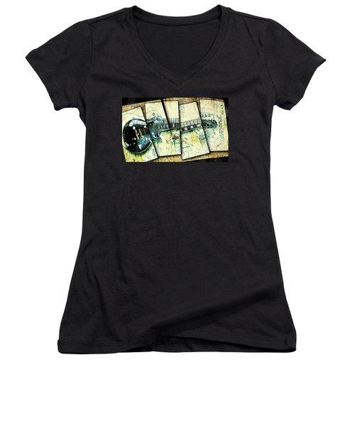 1955 Les Paul Custom Black Beauty V2 Women's V-Neck T-Shirt (Junior Cut) by Gary Bodnar
