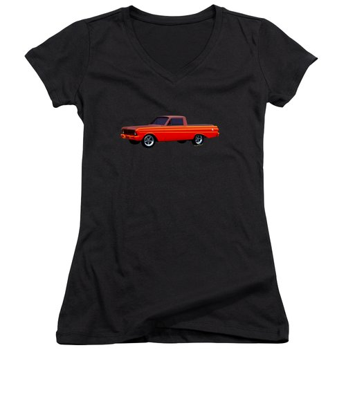 1965 Ford Falcon Ranchero Day At The Beach Women's V-Neck T-Shirt (Junior Cut) by Chas Sinklier