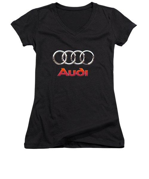 Audi - 3 D Badge On Black Women's V-Neck T-Shirt (Junior Cut) by Serge Averbukh