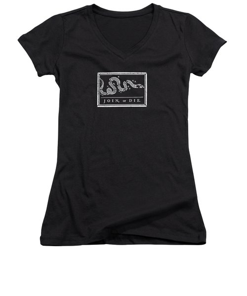 Join Or Die Women's V-Neck T-Shirt (Junior Cut) by War Is Hell Store
