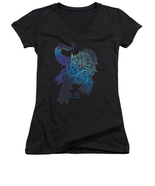 Triceratrippin Women's V-Neck T-Shirt (Junior Cut) by Jordan Kotter