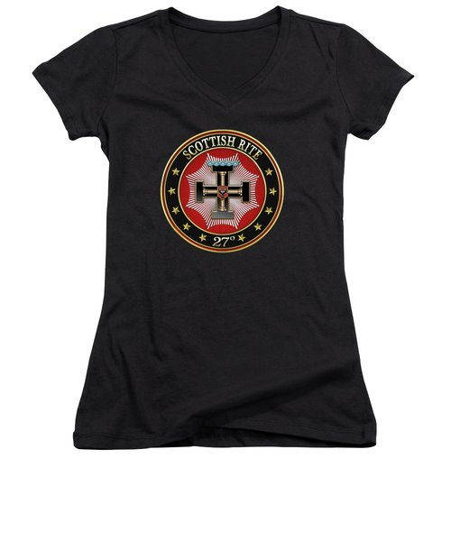 27th Degree - Knight Of The Sun Or Prince Adept Jewel On Black Leather Women's V-Neck T-Shirt (Junior Cut) by Serge Averbukh