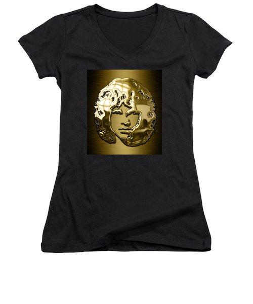 Jim Morrison The Doors Collection Women's V-Neck T-Shirt (Junior Cut) by Marvin Blaine