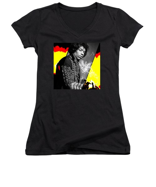 Jimi Hendrix Collection Women's V-Neck T-Shirt (Junior Cut) by Marvin Blaine
