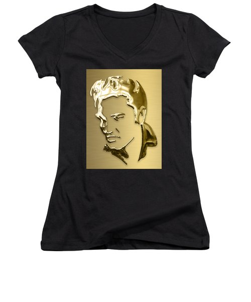 Elvis Presley Collection Women's V-Neck T-Shirt (Junior Cut) by Marvin Blaine