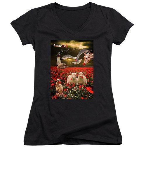 A Very Strange Dream Women's V-Neck T-Shirt (Junior Cut) by Meirion Matthias