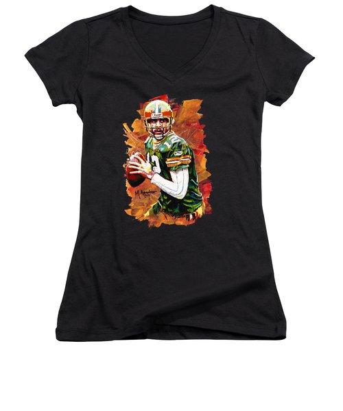 Aaron Rodgers Women's V-Neck T-Shirt (Junior Cut) by Maria Arango