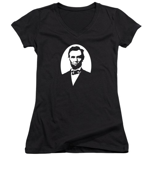 Abraham Lincoln - Black And White Women's V-Neck T-Shirt (Junior Cut) by War Is Hell Store