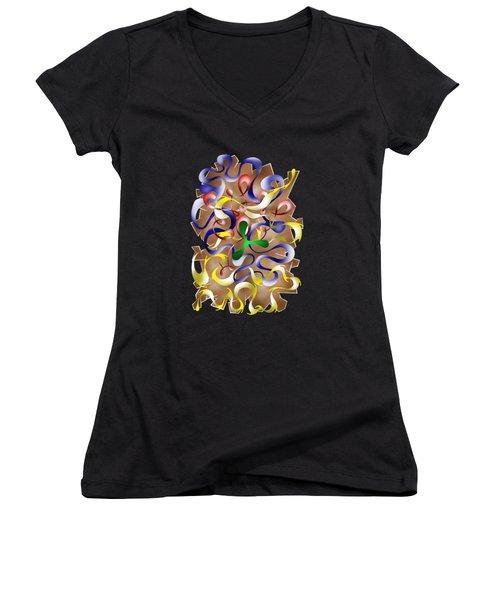 Abstract Digital Art - Jamurina V2 Women's V-Neck T-Shirt (Junior Cut) by Cersatti