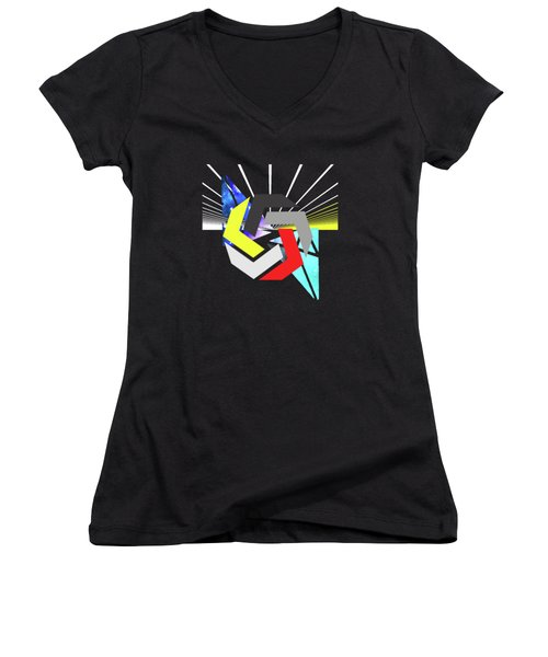 Abstract Space 6 Women's V-Neck T-Shirt (Junior Cut) by Russell K