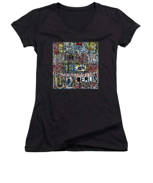 Achtung Baby Women's V-Neck T-Shirt (Junior Cut) by Frank Van Meurs