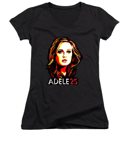 Adele 25-1 Women's V-Neck T-Shirt (Junior Cut) by Tim Gilliland
