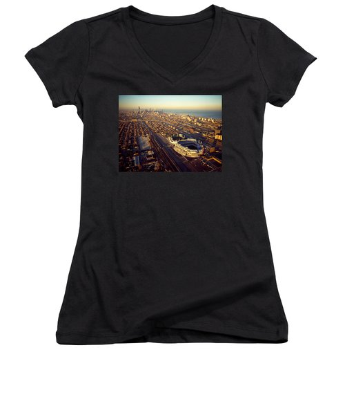 Aerial View Of A City, Old Comiskey Women's V-Neck T-Shirt (Junior Cut) by Panoramic Images