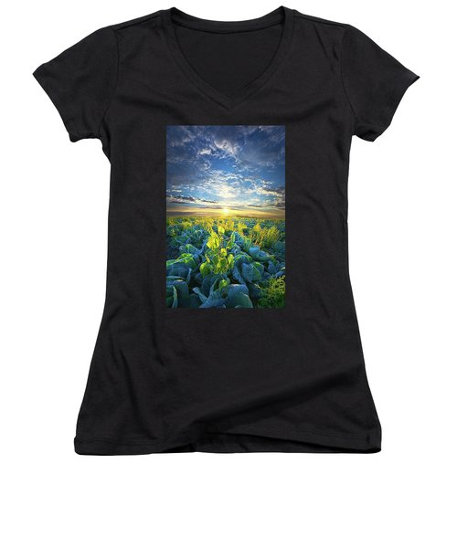 All Joined As One Women's V-Neck T-Shirt (Junior Cut) by Phil Koch