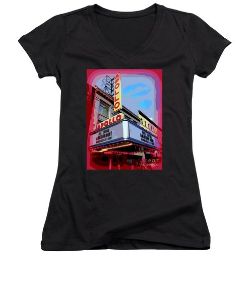 Amateur Night At The Apollo Women's V-Neck T-Shirt (Junior Cut) by Ed Weidman