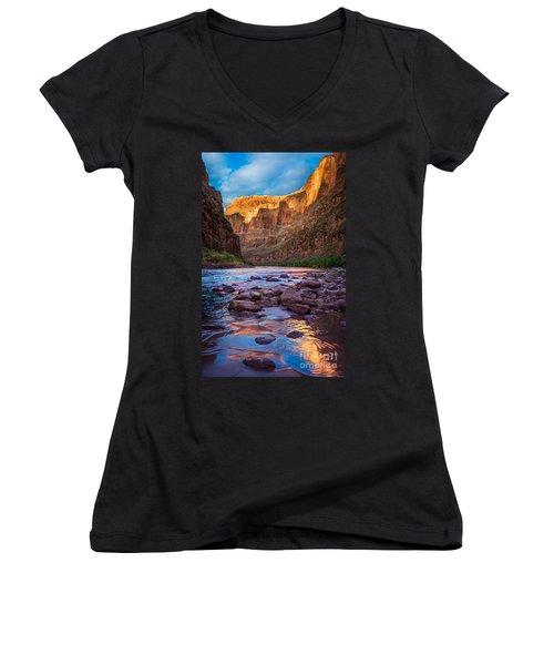 Ancient Shore Women's V-Neck T-Shirt (Junior Cut) by Inge Johnsson