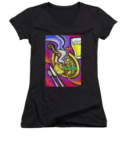 Appetizing Dinner Women's V-Neck T-Shirt (Junior Cut) by Leon Zernitsky