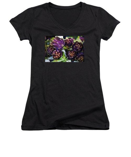 Artichokes  Women's V-Neck T-Shirt (Junior Cut) by Joana Kruse
