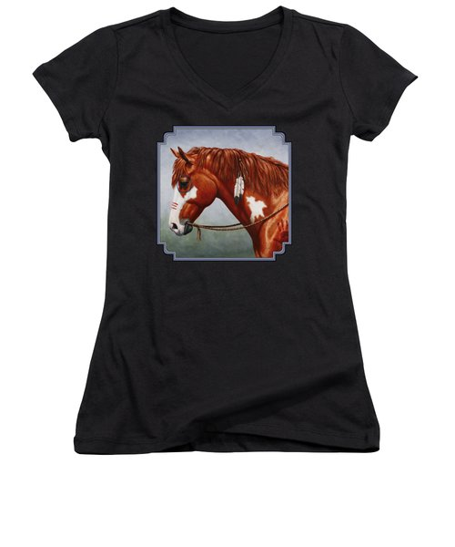 Native American War Horse Women's V-Neck T-Shirt (Junior Cut) by Crista Forest