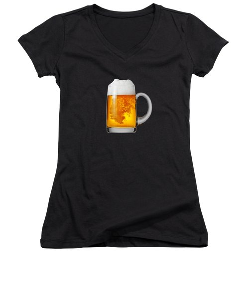 Glass Of Beer Women's V-Neck T-Shirt (Junior Cut) by T Shirts R Us -
