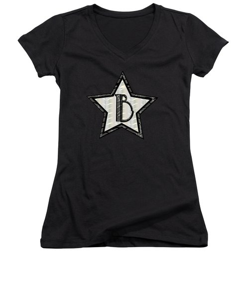 Star Of The Show Art Deco Style Letter B Women's V-Neck T-Shirt (Junior Cut) by Cecely Bloom