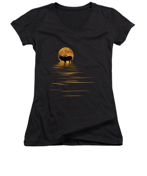 Elk In The Moonlight Women's V-Neck T-Shirt (Junior Cut) by Shane Bechler