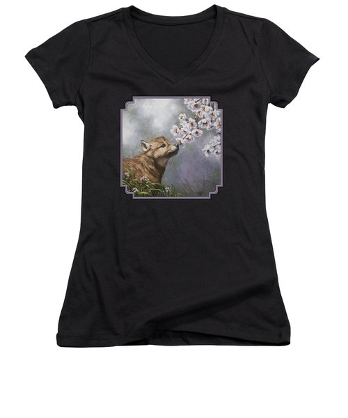 Wolf Pup - Baby Blossoms Women's V-Neck T-Shirt (Junior Cut) by Crista Forest