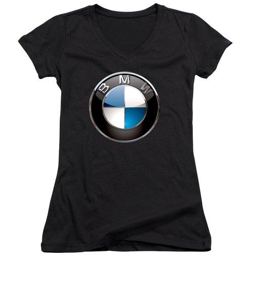 B M W - 3d Badge On Black Women's V-Neck T-Shirt (Junior Cut) by Serge Averbukh