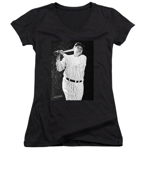 Babe Ruth Women's V-Neck T-Shirt (Junior Cut) by Taylan Apukovska