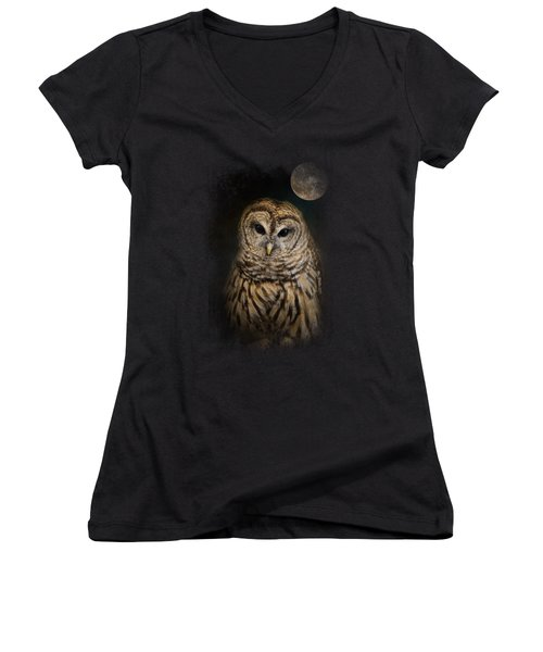 Barred Owl And The Moon Women's V-Neck T-Shirt (Junior Cut) by Jai Johnson