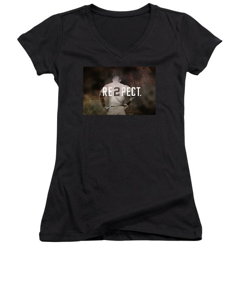 Baseball - Derek Jeter Women's V-Neck T-Shirt (Junior Cut) by Joann Vitali