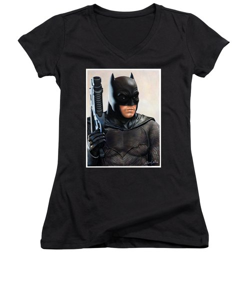 Batman 2 Women's V-Neck T-Shirt (Junior Cut) by David Dias