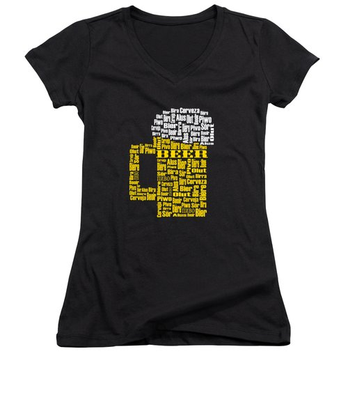 Beer  Women's V-Neck T-Shirt (Junior Cut) by Shirley Radabaugh