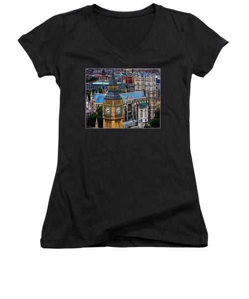 Big Ben And Westminster Abbey Women's V-Neck T-Shirt (Junior Cut) by Chris Lord