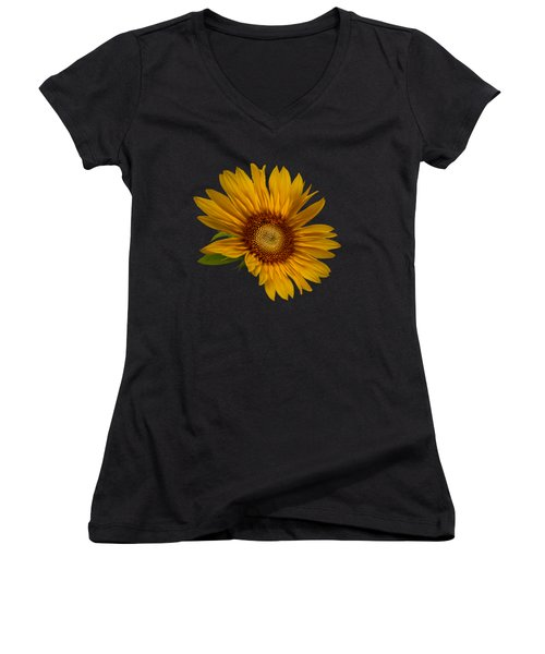 Big Sunflower Women's V-Neck T-Shirt (Junior Cut) by Debra and Dave Vanderlaan