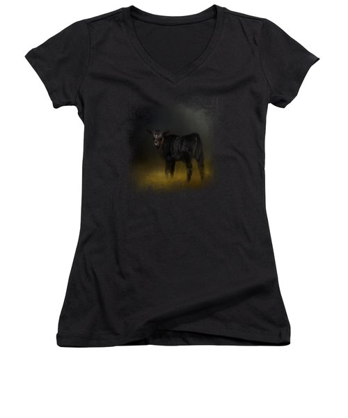Black Angus Calf In The Moonlight Women's V-Neck T-Shirt (Junior Cut) by Jai Johnson
