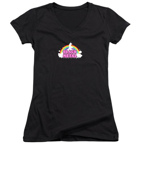 Black Metal Funny Unicorn / Rainbow Mosh Parody Design Women's V-Neck T-Shirt (Junior Cut) by Philipp Rietz