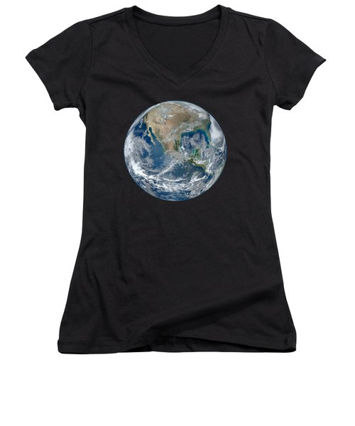 Blue Marble 2012 Planet Earth Women's V-Neck T-Shirt (Junior Cut) by Nikki Marie Smith