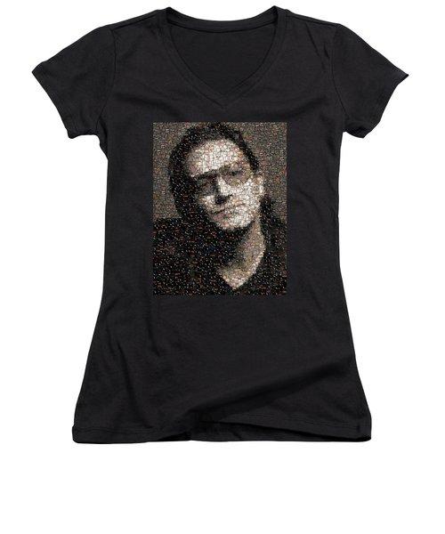 Bono U2 Albums Mosaic Women's V-Neck T-Shirt (Junior Cut) by Paul Van Scott