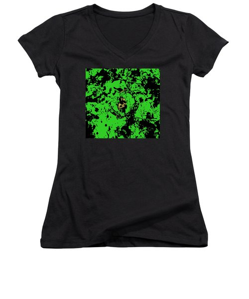 Boston Celtics 1b Women's V-Neck T-Shirt (Junior Cut) by Brian Reaves