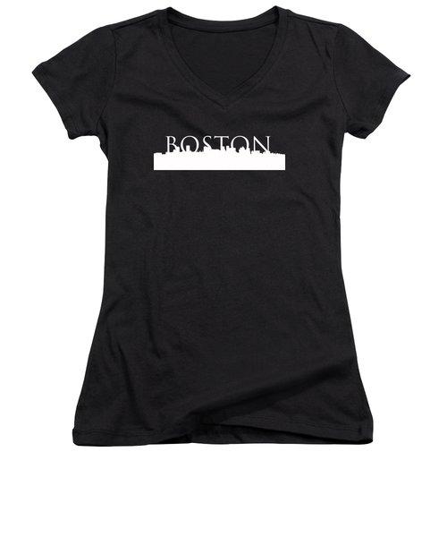 Boston Skyline Outline Logo 2 Women's V-Neck T-Shirt (Junior Cut) by Joann Vitali