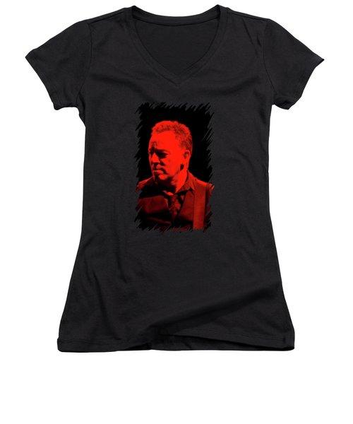 Bruce Springsteen Women's V-Neck T-Shirt (Junior Cut) by Mona Jain