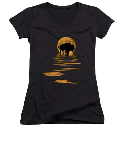 Buffalo In The Moonlight Women's V-Neck T-Shirt (Junior Cut) by Shane Bechler