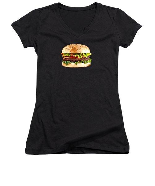 Burger Sndwich Hamburger Women's V-Neck T-Shirt (Junior Cut) by T Shirts R Us -