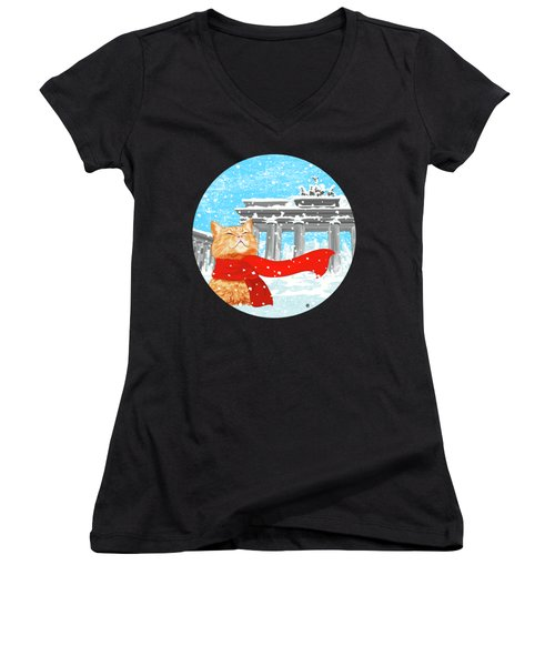 Cat With Scarf Women's V-Neck T-Shirt (Junior Cut) by Carolina Matthes