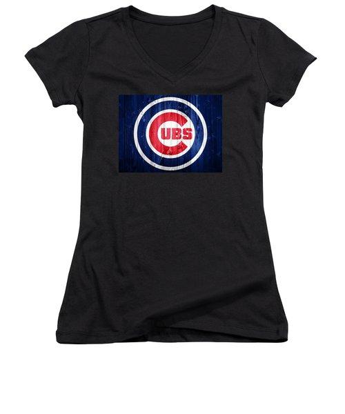 Chicago Cubs Barn Door Women's V-Neck T-Shirt (Junior Cut) by Dan Sproul