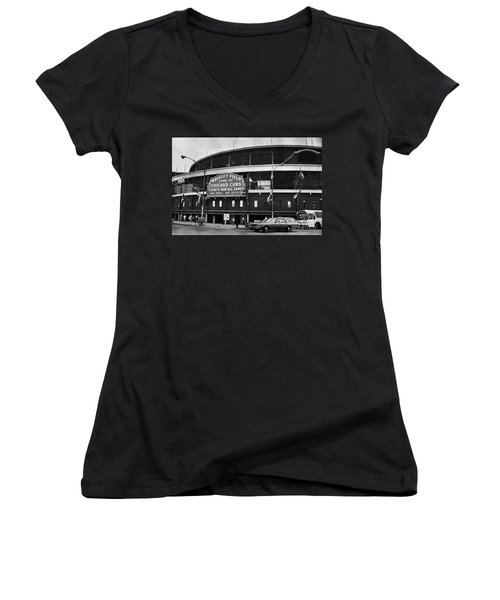 Chicago: Wrigley Field Women's V-Neck T-Shirt (Junior Cut) by Granger